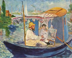 Claude Monet Working on His Boat in Argenteuil, 1874 by Edouard Manet