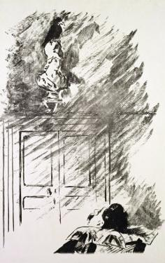 """Illustration for """"The Raven,"""" by Edgar Allen Poe, 1875 by Edouard Manet"""