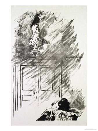 """Illustration for """"The Raven,"""" by Edgar Allen Poe, 1875"""
