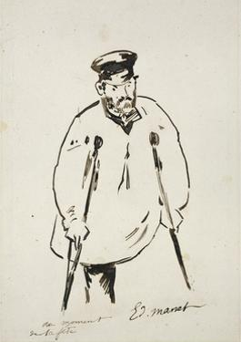 Man on Crutches (Graphite with Reed Pen and Black Ink on Fine-Textured White Paper) by Edouard Manet
