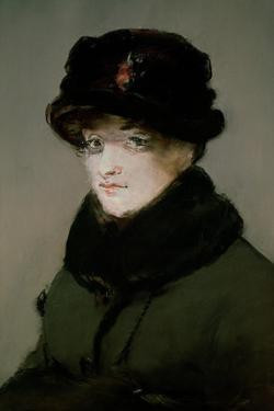 Mery Laurent (1849-1900) Wearing a Fur-Collared Cardigan, 1882 by Edouard Manet