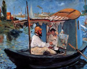 Monet Floating in His Studio by Edouard Manet