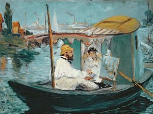 Monet in His Floating Studio, 1874 by Edouard Manet
