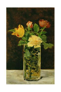 Rose and Tulip. Oil on canvas (1882) 56 x 36 cm. by Edouard Manet