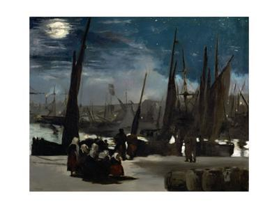 The harbour of Boulogne in moonlight. Oil on canvas (1869) 82 x 101 cm R. F. 1993. by Edouard Manet
