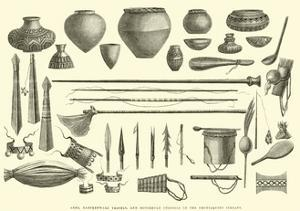 Arms, Earthenware Vessels, and Household Utensils of the Chontaquiro Indians by Édouard Riou