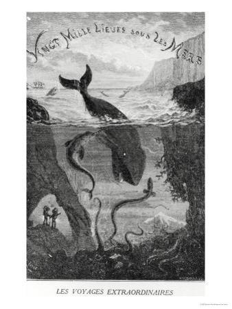 """Cover Illustration from """"20,000 Leagues under the Sea"""" by Jules Verne (1828-1905) by Édouard Riou"""