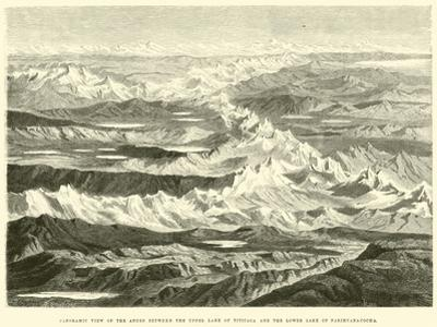 Panoramic View of the Andes Between the Upper Lake of Titicaca and the Lower Lake of Parihuanacocha by Édouard Riou