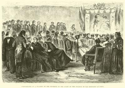 Performance of a Tragedy by the Students in the Court of the College of San Bernardo at Cuzco by Édouard Riou