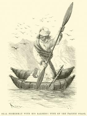 Seal Fisherman with His Balsero, Type of the Pacific Coast by Édouard Riou