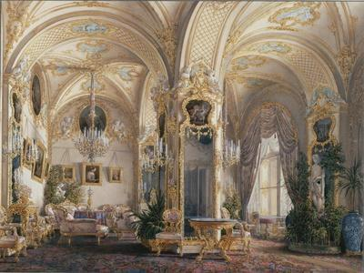 Interiors of the Winter Palace, the Drawing Room in Rococo Style with Cupids, 1860S