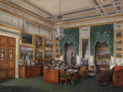 Interiors of the Winter Palace, the Study of Emperor Alexander II, 1857