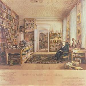 Baron Von Humboldt (1769-1859) in His Library by Eduard Hildebrandt