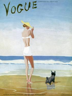 Vogue Cover - July 1937 - Beach Walk by Eduardo Garcia Benito