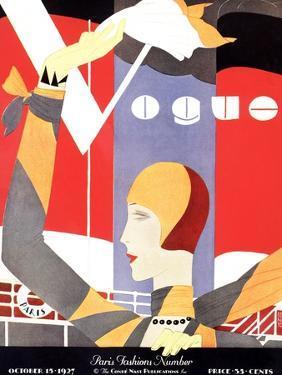 Vogue Cover - October 1927 by Eduardo Garcia Benito