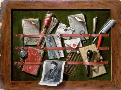 Trompe L'Oeil Letter Rack with a Print of an Old Man, 1703
