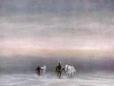 Scott Exercising the Ponies Through the Snow