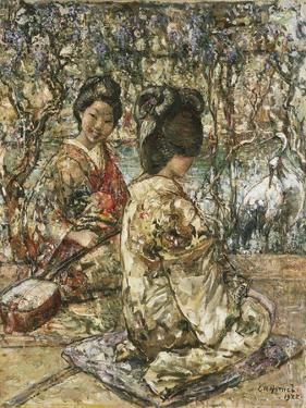 Geisha Girls in a Japanese Garden by Edward Atkinson Hornel