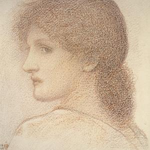 A Study of a Woman's Head, Turned to the Left, 1868 (Red Chalk on Paper) by Edward Burne-Jones