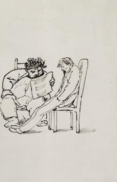 Cartoon of William Morris by Edward Burne-Jones
