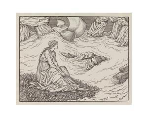 Illustration of woman by the sea by Edward Burne-Jones