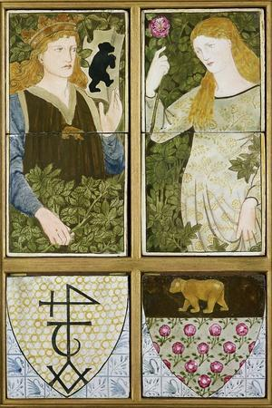 King Arthur and Queen Guinevere, Six Tile Panel Manufactured by Morris, Marshall, Faulkner and Co.