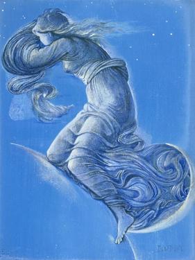 Luna (W/C, Bodycolour, Pencil and Silver Paint on Linen) by Edward Burne-Jones