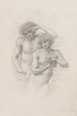 Study of Two Male Nudes for 'Arthur in Avalon', C. 1885 by Edward Burne-Jones