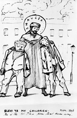 William Morris and Edward Burne-Jones Being Blessed by Chaucer, Cartoon, 1896 by Edward Burne-Jones