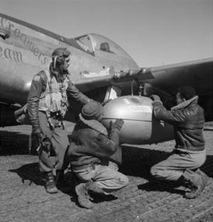 Edward C. Gleed and Two Unidentified Tuskegee Airmen, Ramitelli, Italy, March 1945