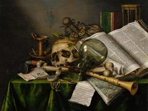 Vanitas, Still Life with Books, Manuscripts and a Skull by Edward Collier