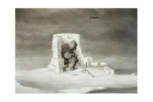 An Eskimo Watching a Seal Hole by Edward Finden