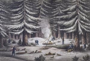 Manner of Making a Resting Place on a Winter's Night by Edward Finden