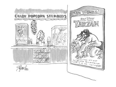 Concession stand at movie theatre showing Walt Disney's Tarzan, offers ban? - New Yorker Cartoon