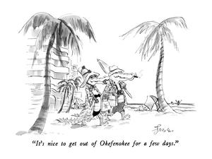 """""""It's nice to get out of Okefenokee for a few days."""" - New Yorker Cartoon by Edward Frascino"""