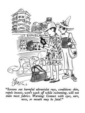 """Screens out harmful ultraviolet rays, conditions skin, repels insects, wo…"" - New Yorker Cartoon by Edward Frascino"