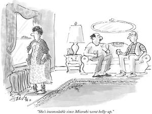 """""""She's inconsolable since Mizrahi went belly-up."""" - New Yorker Cartoon by Edward Frascino"""