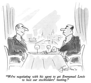 """""""We're negotiating with his agent to get Emmanuel Lewis to host our stockh…"""" - New Yorker Cartoon by Edward Frascino"""