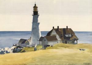 Lighthouse and Buildings, Portland Head, Cape Elizabeth, Maine, c.1927 by Edward Hopper