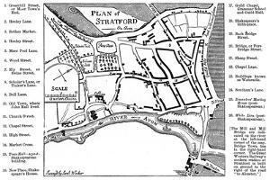 Map of Stratford-Upon-Avon, Warwickshire, 1759 by Edward Hull