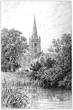 Stratford Church as Seen from the River, Stratford-Upon-Avon, Warwickshire, 1885 by Edward Hull