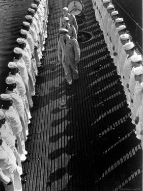 Inspection of Neatly Lined Up Personnel Aboard US Submarine at New London Submarine Base by Edward J. Steichen