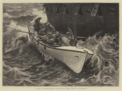 A Man Overboard, Lowering the Ship's Lifeboat