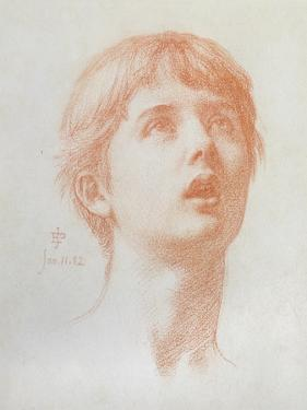 Angel's Head - Study for the Mosaic in St Paul's, 1882 by Edward John Poynter