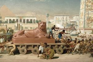 Statue of Sekhmet Being Transported, Detail of Israel in Egypt, 1867 (Detail) by Edward John Poynter