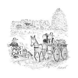 A hitch hiker calls for a ride. - New Yorker Cartoon by Edward Koren