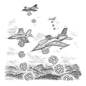 A squad of US bombers drops pretzels instead of bombs. - New Yorker Cartoon by Edward Koren