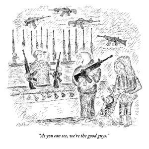 """As you can see, we're the good guys."" - New Yorker Cartoon by Edward Koren"