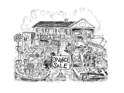 Sign in yard reads: Divorce Sale.  Man and woman sit glumly with folded ar… - New Yorker Cartoon by Edward Koren