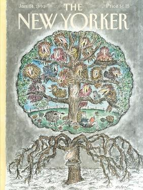 The New Yorker Cover - January 14, 1991 by Edward Koren